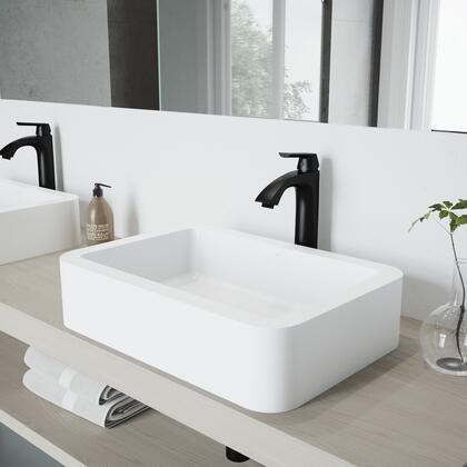 VGT1149 Petunia Matte Stone Vessel Bathroom Sink Set With Linus Vessel Faucet In Matte