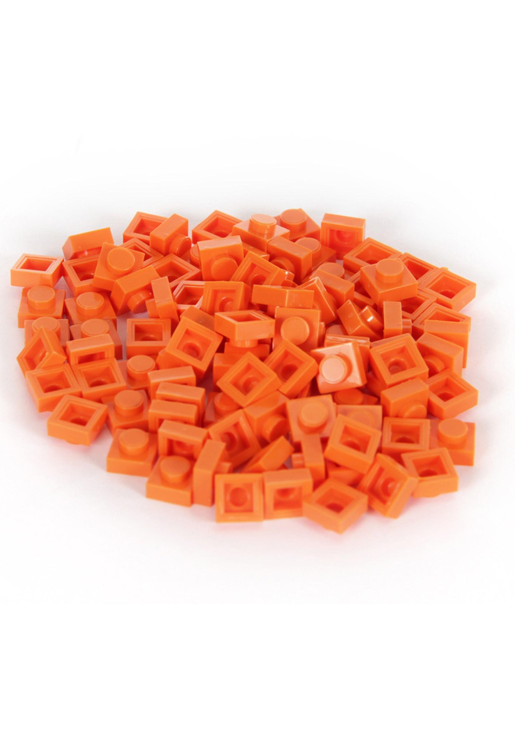 Orange Bricky Blocks 100 Pieces 1x1