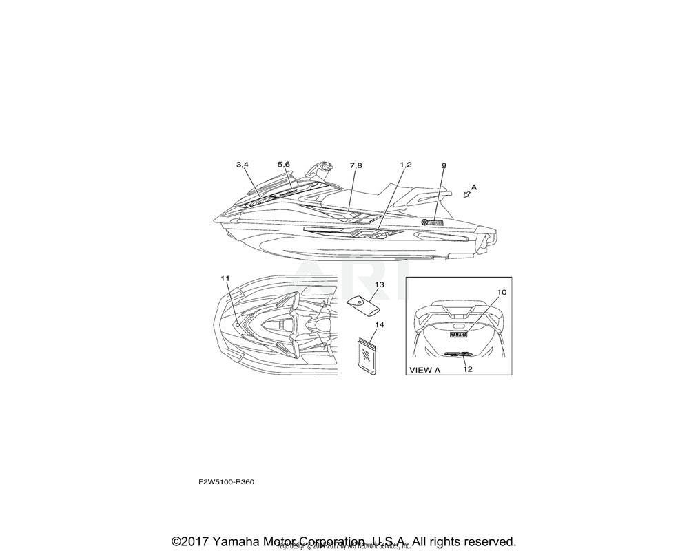 Yamaha OEM F2W-U417J-40-00 GRAPHIC 8 (RH) | FOR WHITE