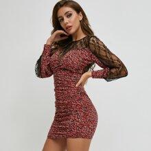 Backless Lace Yoke Ditsy Floral Print Dress