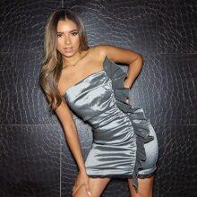 Ruffle Trim Eyelash Lace Hem Bodycon Dress