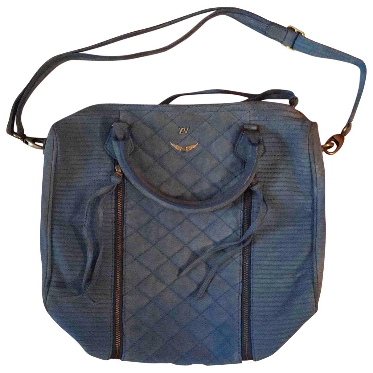 Zadig & Voltaire Sunny Handtasche in  Blau Veloursleder