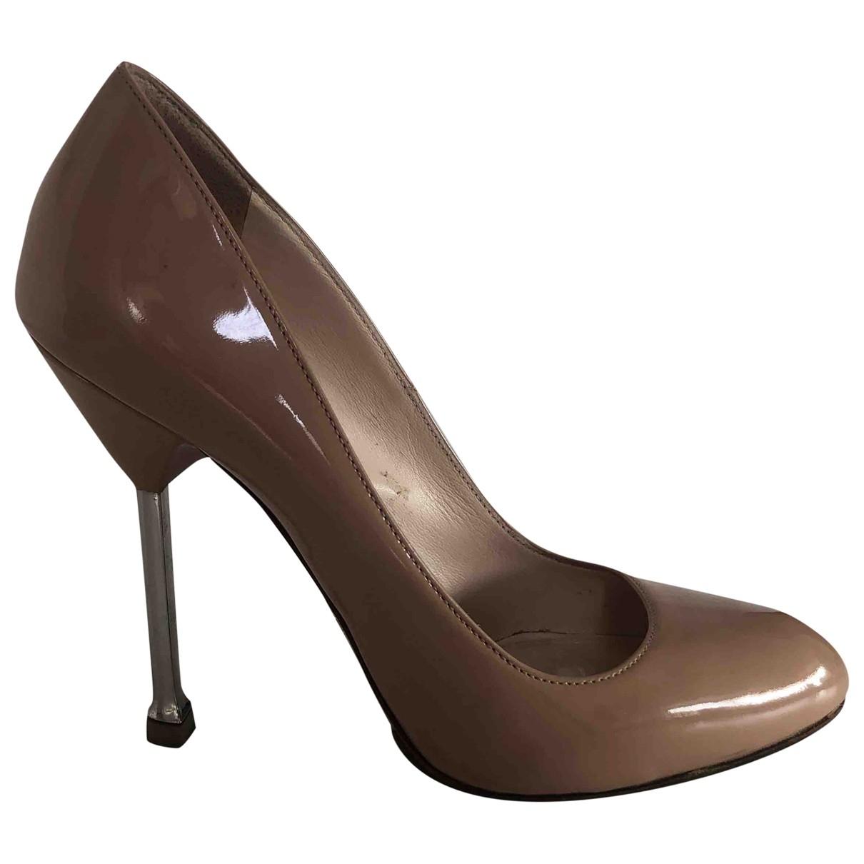 Prada \N Beige Patent leather Heels for Women 38.5 EU