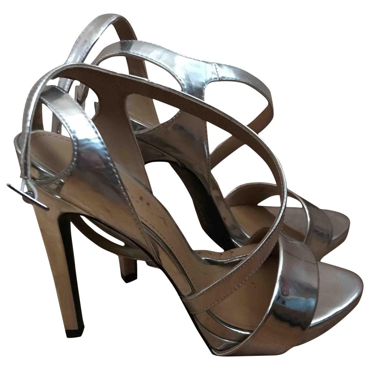 Zara - Sandales   pour femme en cuir - argente