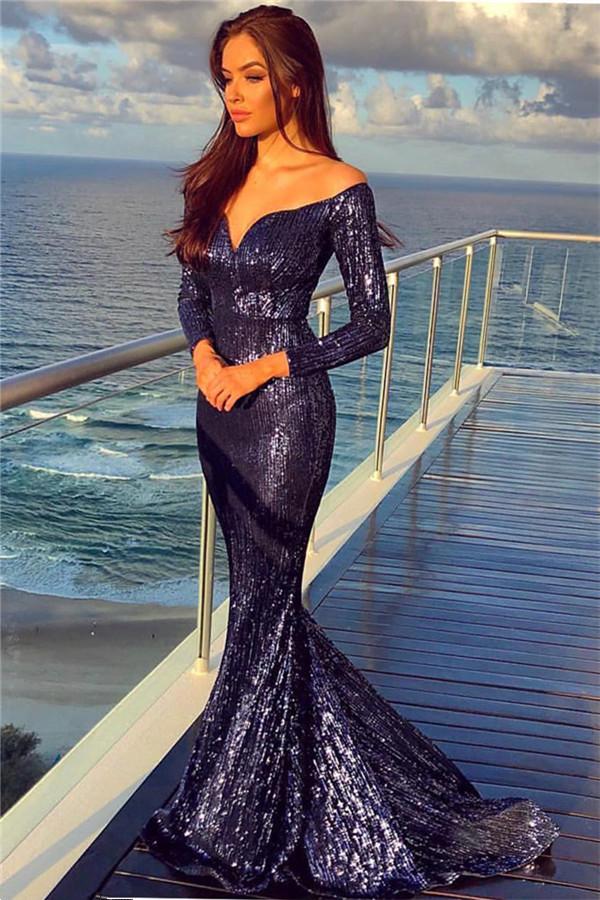 Fuera de los hombros lentejuelas vestidos de noche sexy con mangas largas | Sirena baratos vestidos de fiesta formales 2021