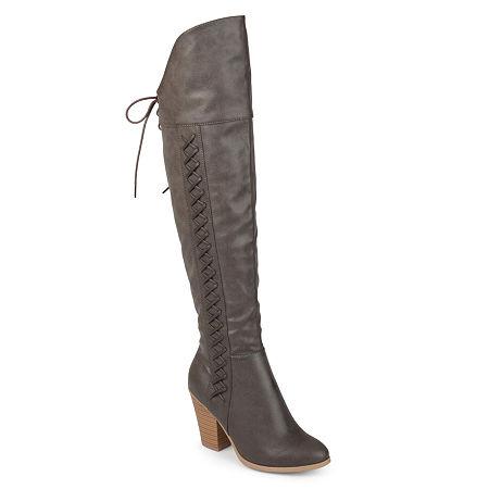 Journee Collection Womens Spritz Dress Boots Block Heel, 8 1/2 Medium, Gray