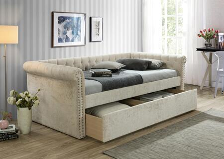 Zayden Collection ZY8012-BG Daybed with Nailhead Trim and Tufted Back in Beige