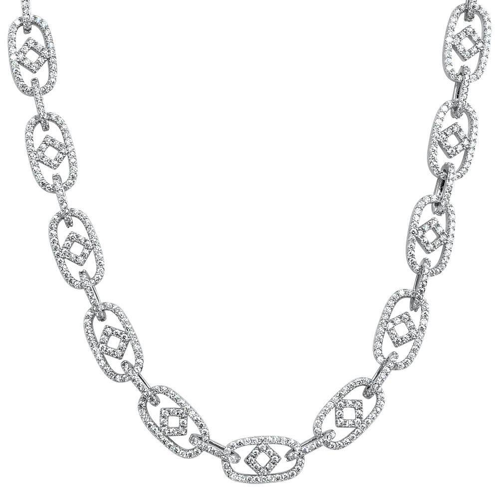 Box Oval Link CZ Hip Hop Iced Out Chain
