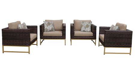Barcelona BARCELONA-04g-GLD-WHEAT 4-Piece  Patio Set 04g with 4 Club Chairs - Beige and Wheat Covers with Gold