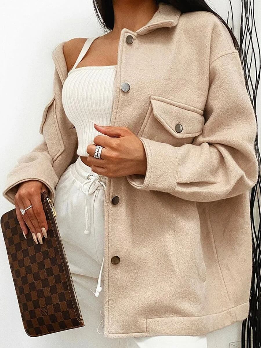 LW Lovely Casual Turndown Collar Button Design Loose Khaki Jacket