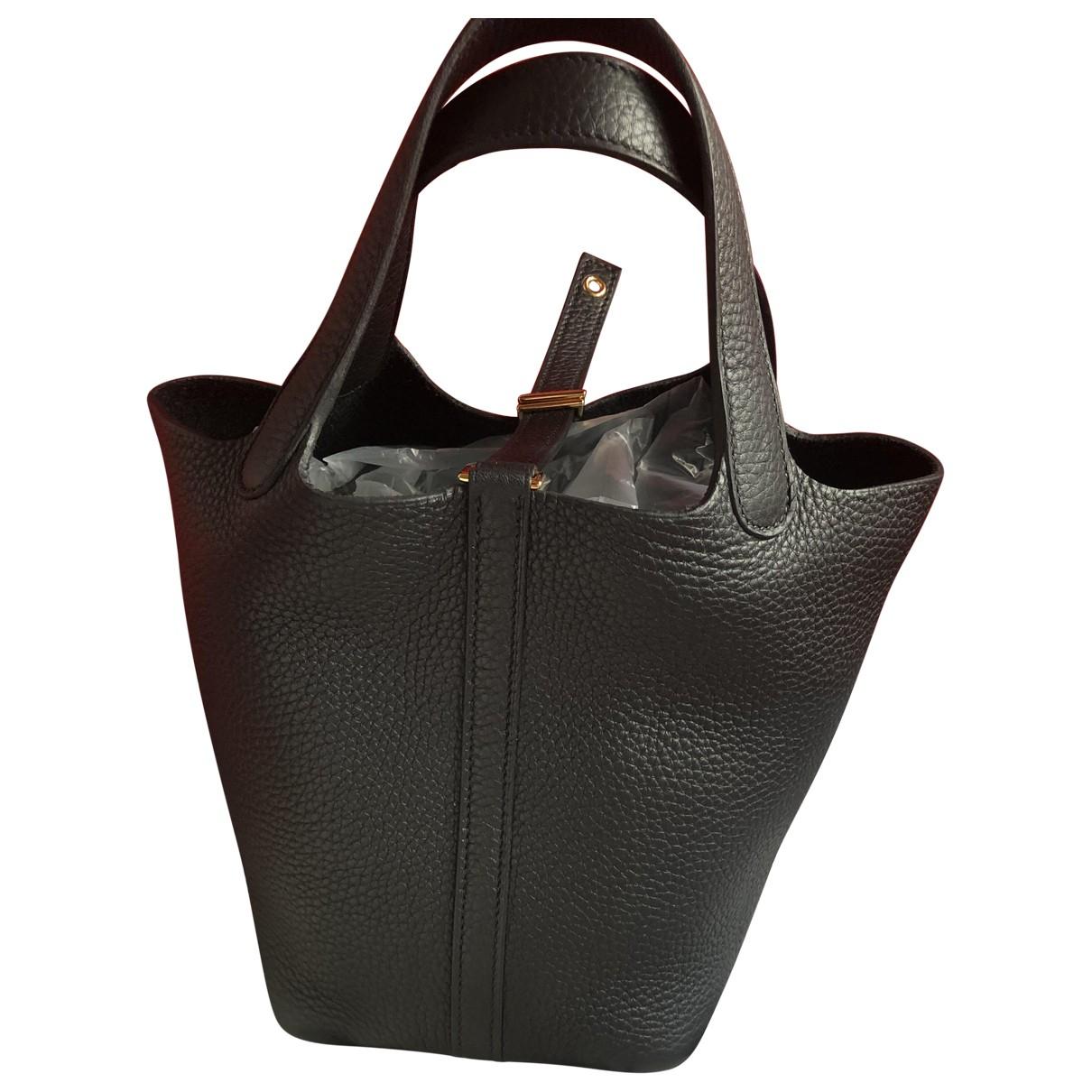 Hermes - Sac a main Picotin pour femme en cuir - noir