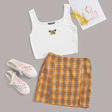 Plus Butterfly Embroidery Tank Top & M-Slit Hem Tartan Skirt Set