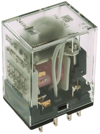 RS PRO , 24V ac Coil Non-Latching Relay 4PDT, 5A Switching Current Plug In, 4 Pole