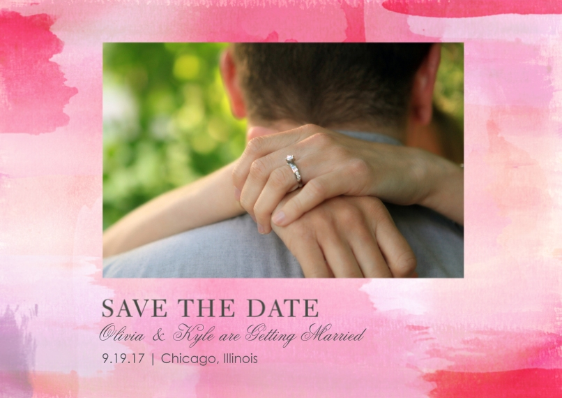 Save the Date 5x7 Cards, Premium Cardstock 120lb with Elegant Corners, Card & Stationery -La Vie en Rose Wedding - Save the Date
