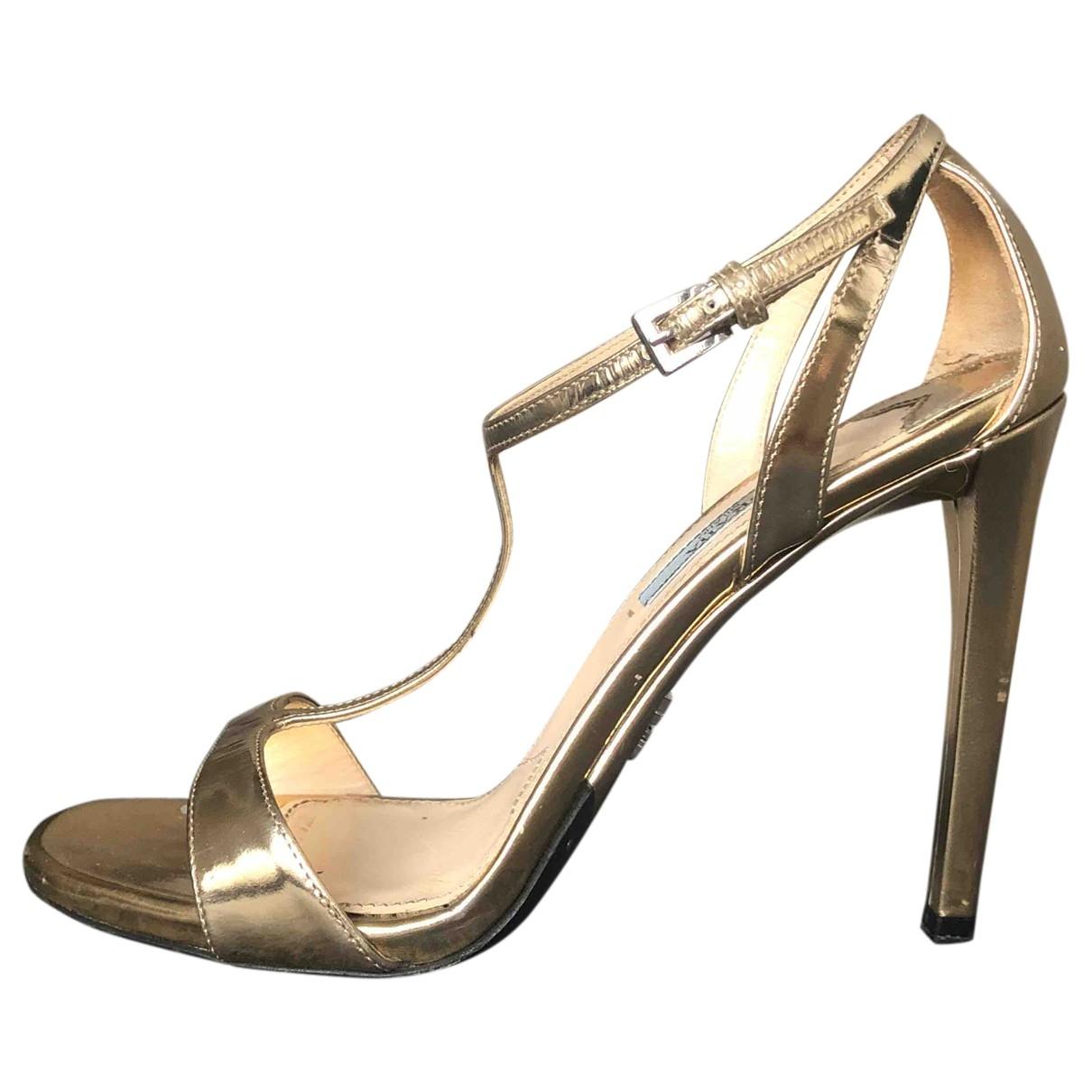 Prada \N Gold Patent leather Sandals for Women 38 EU