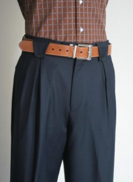 Pleated Wide Leg Pants Woolfeel Navy Mens Trousers/Slacks Cheap