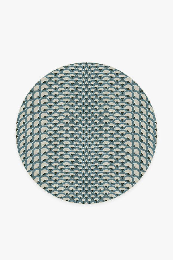 Washable Rug Cover   Cynthia Rowley Lamella Jade Rug   Stain-Resistant   Ruggable   6' Round