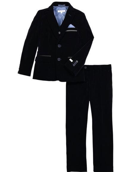 Mens Velvet Fabric Suit Jacket & Pants Navy (no vest included)