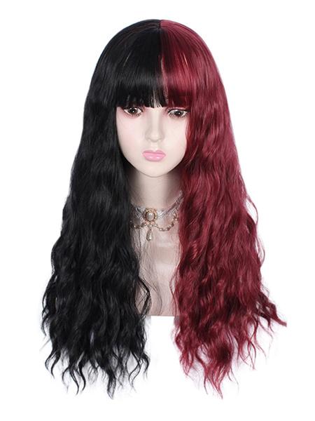 Milanoo Sweet Lolita Wigs Black Color Block Deep Red Black Fiber Lolita Accessories