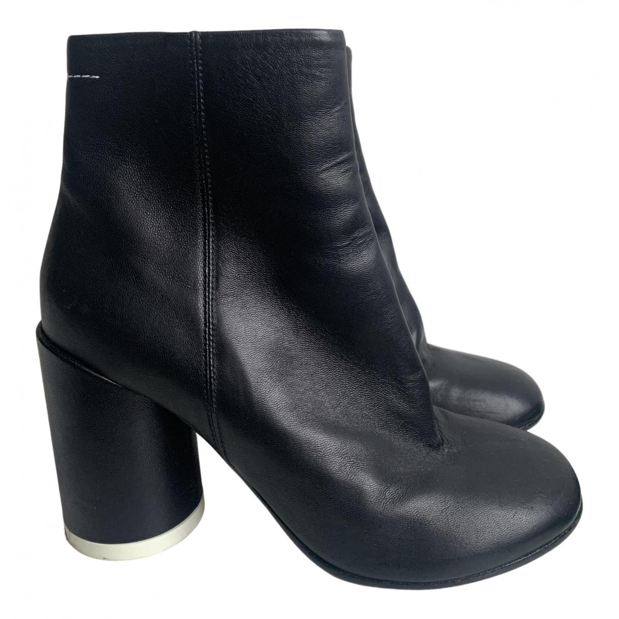 Mm6 - Bottes   pour femme en cuir - noir