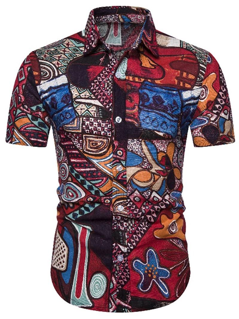 Ericdress Color Block Print Mens Single-Breasted Shirt