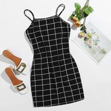 Figrubetontes Kleid mit Gitter Muster