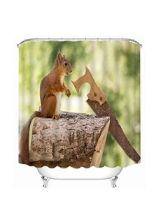 Funny Squirrel Sawing Wood Print 3D Bathroom Shower Curtain