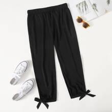 Pantalones de cintura alta de puño con cordon