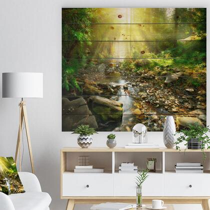 WD9128-46-36 Mountain Stream In Forest - Landscape Photography Print On Natural Pine Wood -