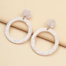 Acrylic Round Charm Drop Earrings