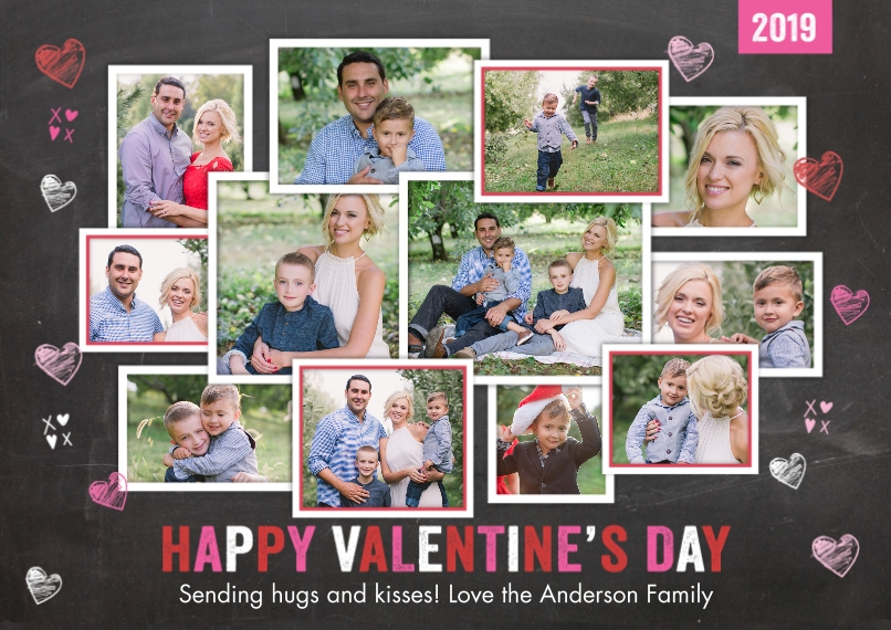 Valentine's Cards 5x7 Cards, Premium Cardstock 120lb with Elegant Corners, Card & Stationery -Valentine 2019 Collage by Tumbalina