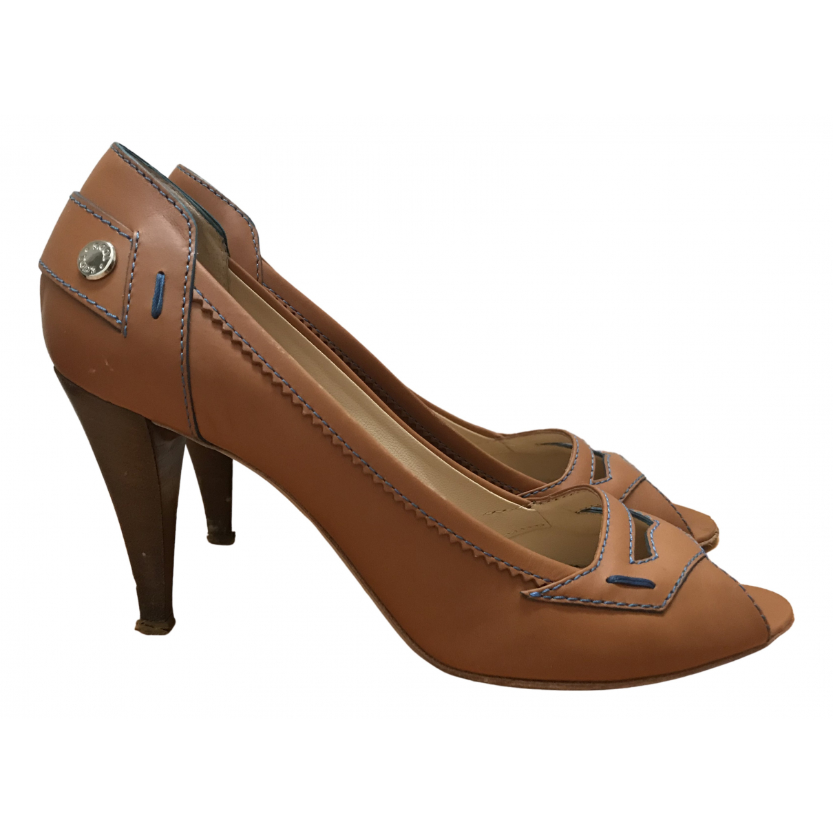 Tod's N Camel Leather Heels for Women 38 EU
