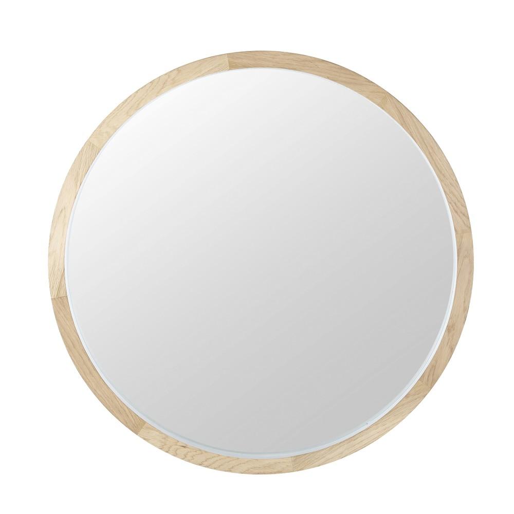 Runder Spiegel mit weissem Eichenholzrahmen D.100