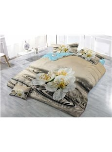 Pear Flower Wear-resistant Breathable High Quality 60s Cotton 4-Piece 3D Bedding Sets