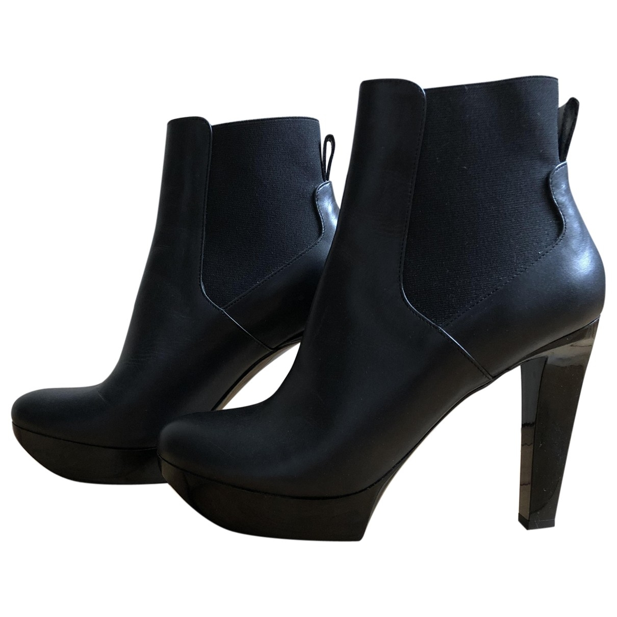 Robert Clergerie \N Black Leather Ankle boots for Women 38.5 EU