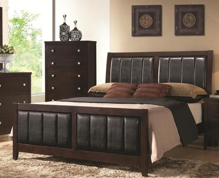 Carlton 202091KE Eastern King Size Panel Bed with Black Padded Leatherette  Tapered Legs  Solid Wood and Veneers Construction in Cappuccino