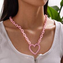 Collar de cadena con diseño de corazon 1 pieza