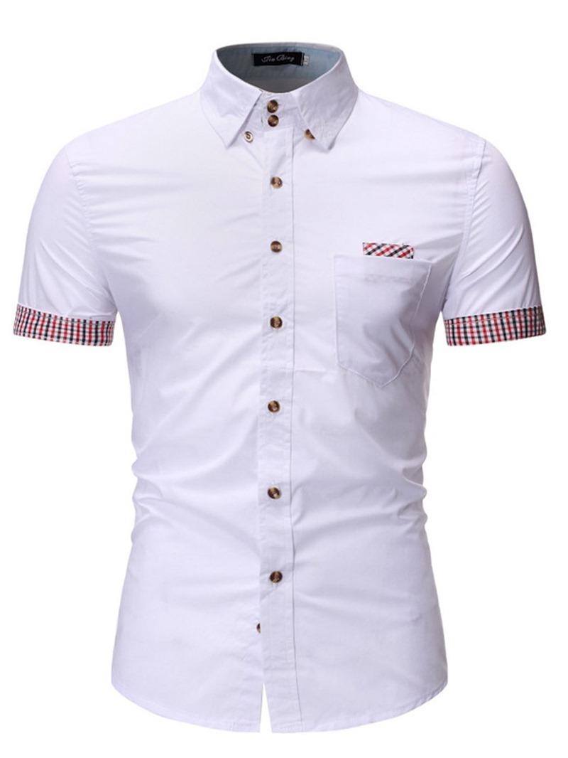 Ericdress Casual Lapel Color Block Mens Single-Breasted Slim Shirt