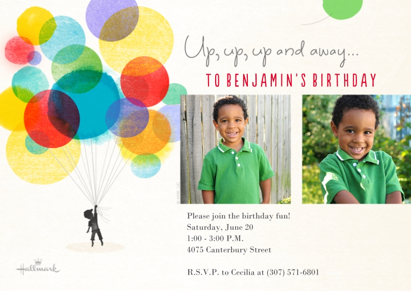 Kids Birthday Party Invites Flat Matte Photo Paper Cards with Envelopes, 5x7, Card & Stationery -Watercolor Balloons