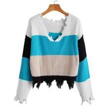Pullover mit sehr tief angesetzter Schulterpartie, Farbblock und Riss