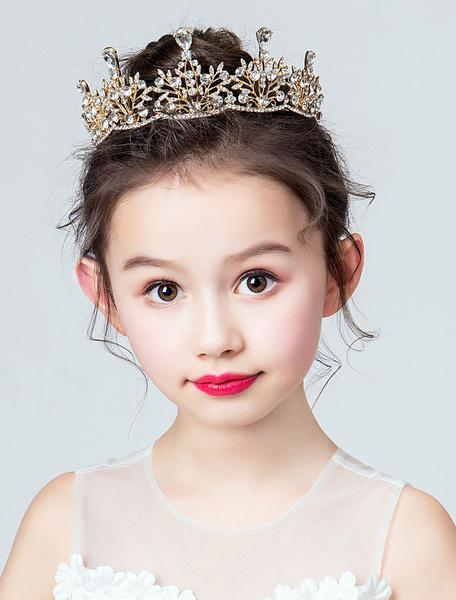 Milanoo Flower Girl Tiara Crown Headpieces Rhinestone Royal Wedding Party Hair Accessories For Kids