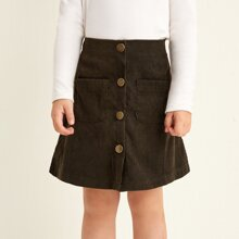 Toddler Girls Corduroy Button Front Pocket Patched Skirt