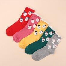 5 pares calcetines con patron de santa claus