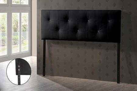 Baxton Studio BBT6432-Black-HB-Full Kirchem Headboard with Crystal Button-Tufting  Foam Padding  Rubberwood Frame and Faux Leather Upholstery in