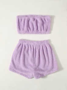 Flannel Tube Top With Shorts Lounge Set