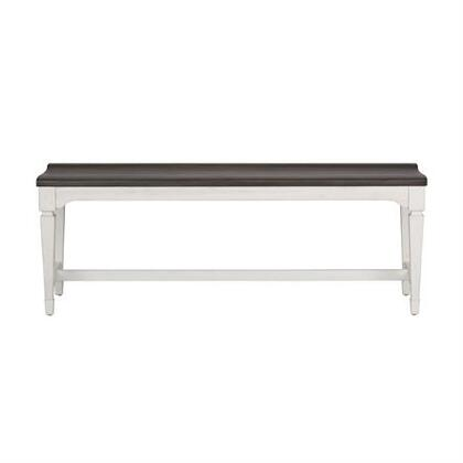 Allyson Park Collection 417-C9000B Bench with Round Tapered Legs  Softly Rounded Pilasters and Wood Seat Bench in Wire Brushed White Finish with