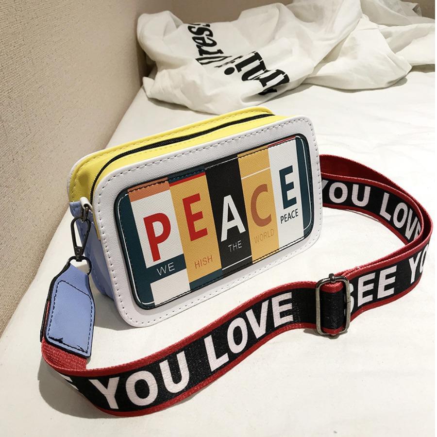 LW lovely Stylish Letter Print White Crossbody Bag