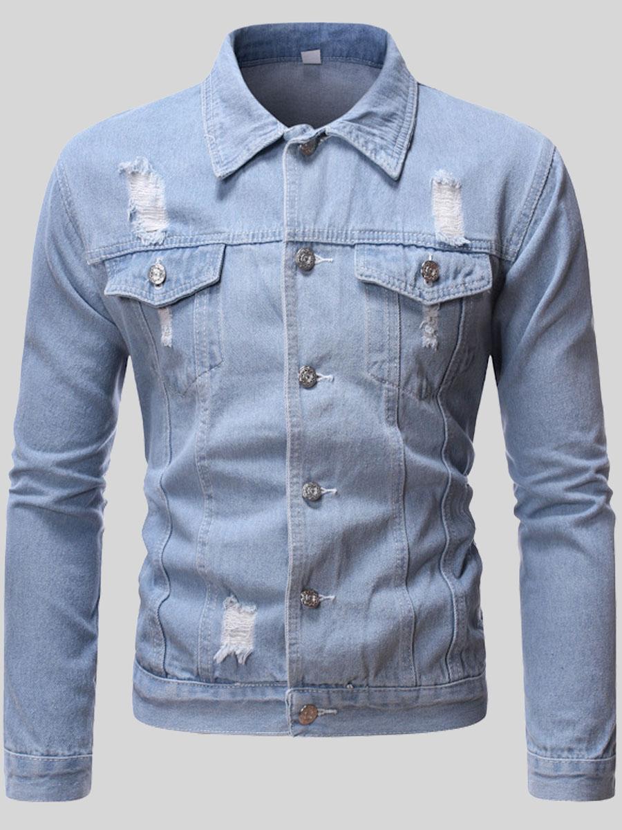 LW Lovely Trendy Turndown Collar Buttons Design Baby Blue Men Denim Jacket