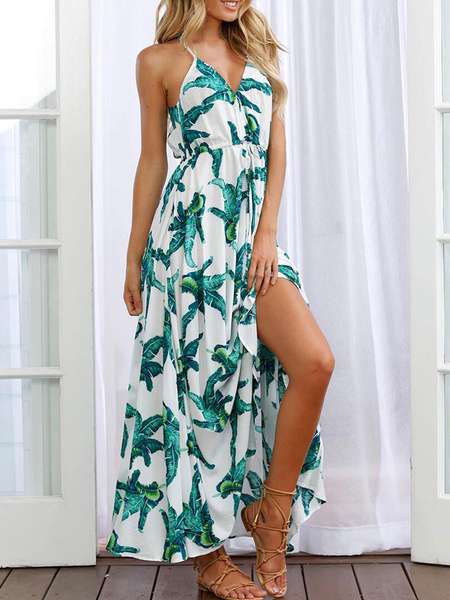Milanoo Long Summer Dress Straps Leaf Print Split Maxi Dress