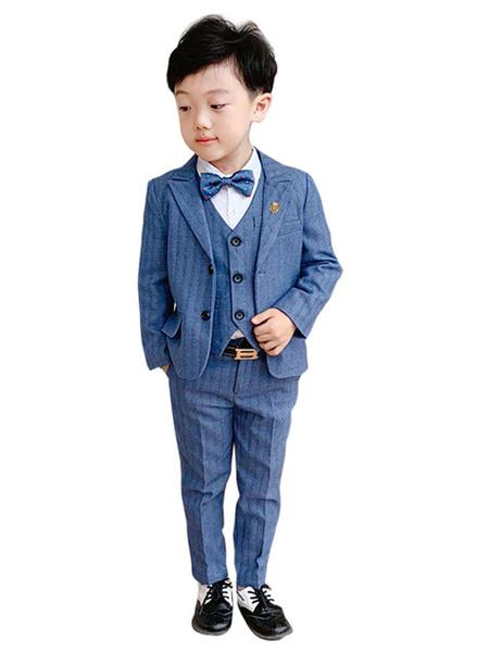 Milanoo Trajes del portador del anillo Algodon poliester azul Mangas largas Pantalones Abrigo Chaleco Bebe Trajes de fiesta formales